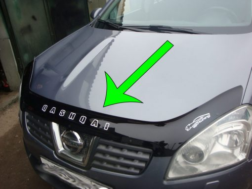 Дефлектор за преден капак за Nissan Qashqai 2006-2009 (шаблон за дефлектори за преден капак)